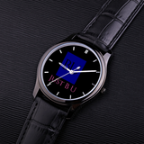 30 Meters Waterproof Quartz Fashion Watch With Black Genuine Leather Band