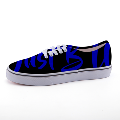 Low-top fashion canvas shoes (black and blue writing)