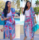 Plus Size 2 Piece Set Cardigan Cloak Long Top And Bodycon Pant