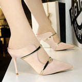Women Outdoor Party Silk Sandals Pointed Toe Thin Heels Super High 9cm