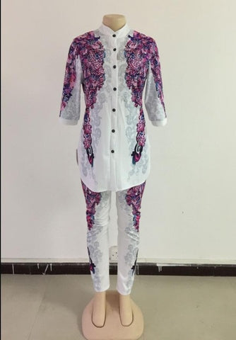 African Print Elastic Bazin Baggy Pants Rock Style Dashiki Sleeve Famous Suit For Lady