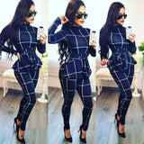 Plaid Print Turtleneck Long Sleeve One Piece Jump Suit