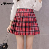 Plaid zipper high waist skirt