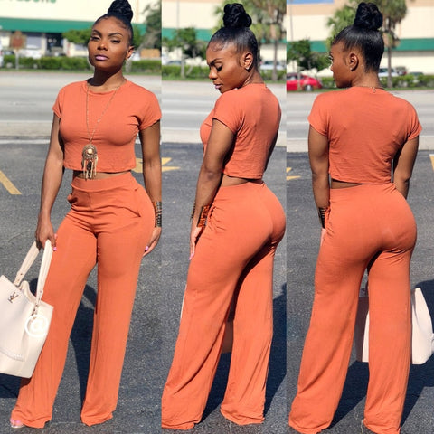 Casual Crop Top and Wide Leg Pants Set
