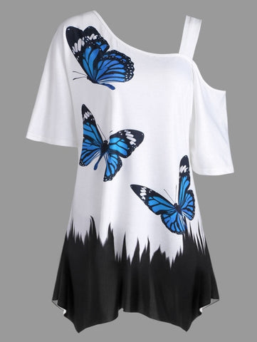 Butterfly Print Casual Summer Top T Shirts