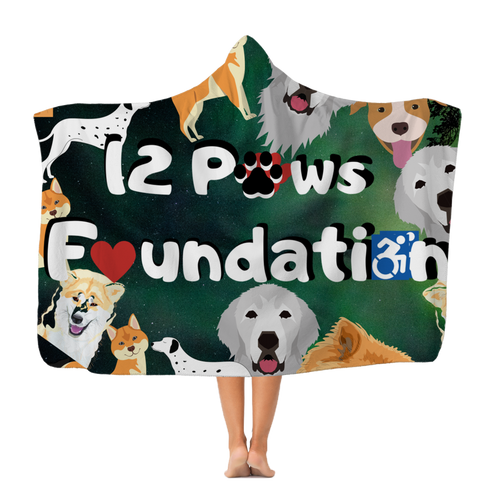 12 Paws Pattern Mask (Green) Classic Adult Hooded Blanket