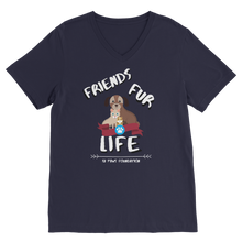 Load image into Gallery viewer, (White Lettering) Friends Fur Life Classic V-Neck T-Shirt
