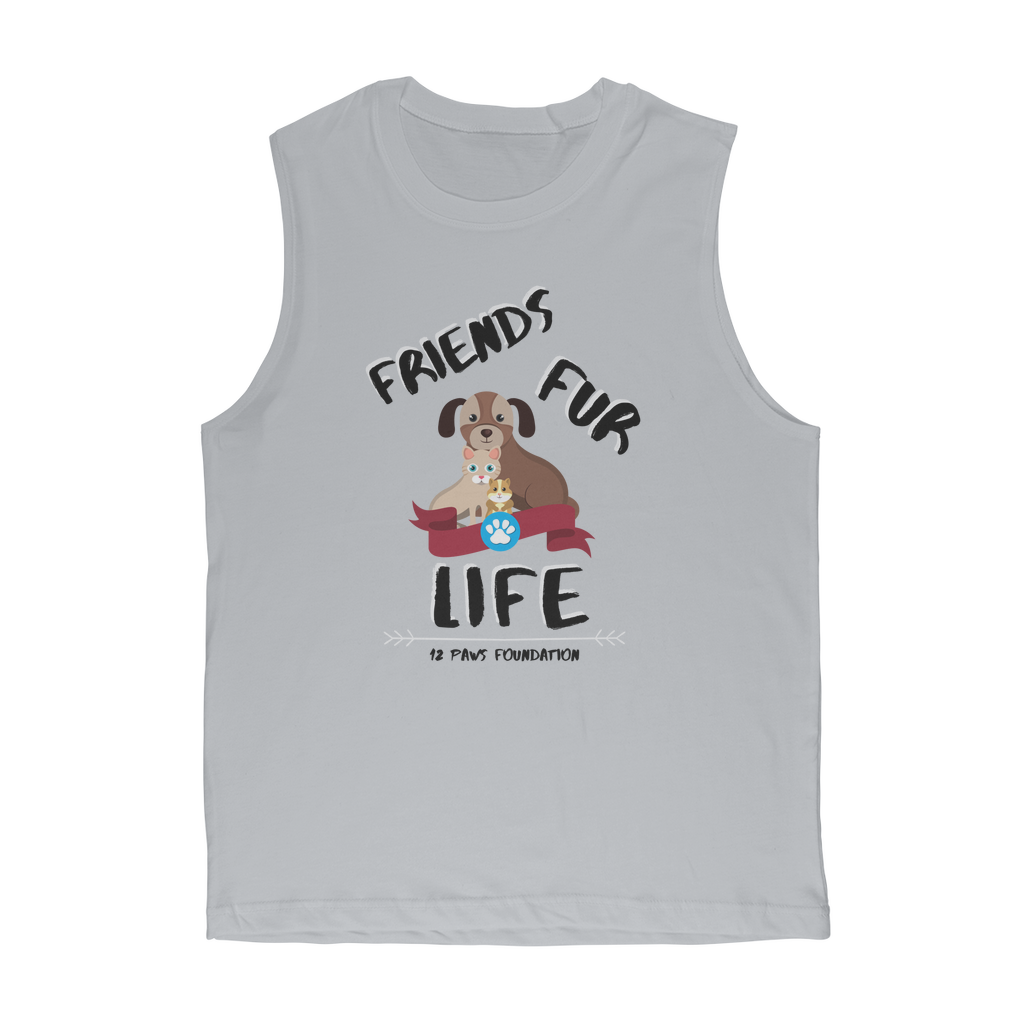 (Black Lettering) Friends Fur Life Classic Adult Muscle Top
