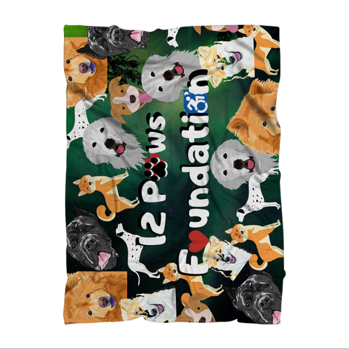 12 Paws Pattern Mask (Green) Sublimation Throw Blanket