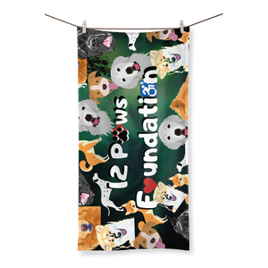 12 Paws Pattern Mask (Green) Sublimation All Over Towel
