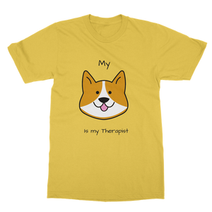 (Black) My Dog is my Therapist Classic Heavy Cotton Adult T-Shirt