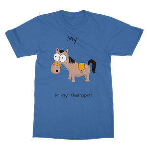 My Crazy Horse is My Therapist (Black) Classic Adult T-Shirt