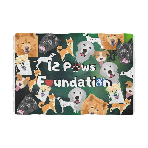12 Paws Pattern Mask (Green) Sublimation Pet Blanket