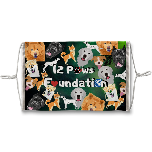 12 Paws Pattern Mask (Green) Sublimation Face Mask