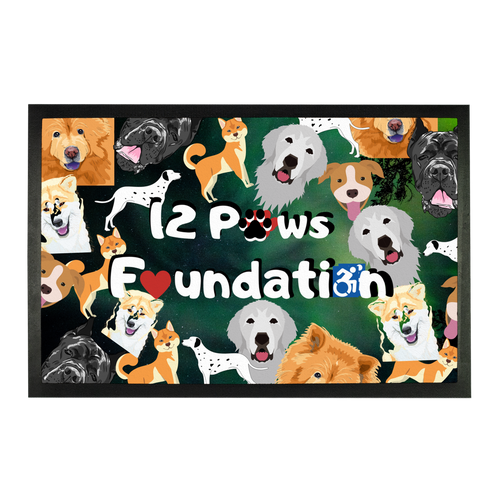 12 Paws Pattern Mask (Green) Sublimation Doormat