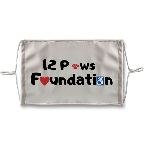 (Black Lettering) 12 Paws Foundation Sublimation Face Mask + 10 Replacement Filters