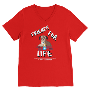 (White Lettering) Friends Fur Life Classic V-Neck T-Shirt