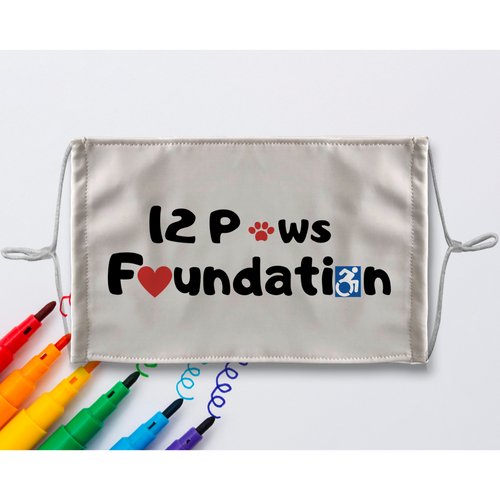 (Black Lettering) 12 Paws Foundation Sublimation Colouring Face Mask