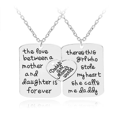 Father Mother Daughter Necklace Set, Gifts for Parents