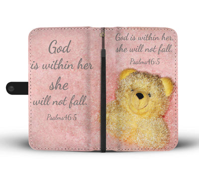 Scripture Quotes Wallet Phone Cases-God is within her, she will not fall