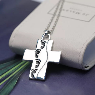 Gfit for him---Footprints cross necklace