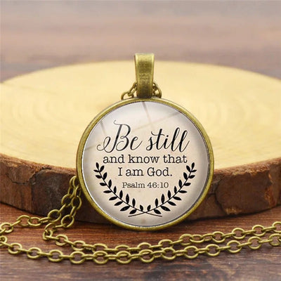 Bible necklace, Psalm 46:10 necklace
