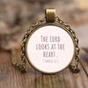 Scripture jewelry, bible jewelry, scripture necklace, bible necklace-The Lord looks at the heart. (1 Samuel 16:1)