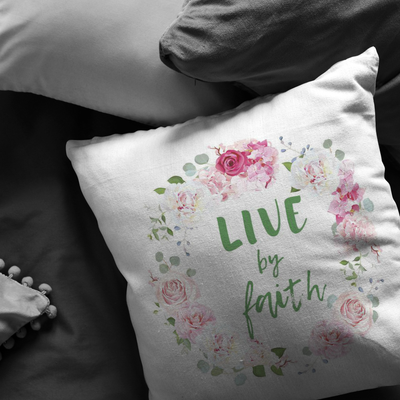 Bible pillow, faith pillow, Christmas gift for family-Live by faith