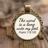 Scripture jewelry-The word is a lamp unto my feet. (Psalm 119:105)