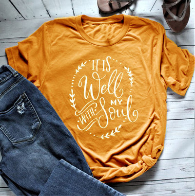 Bible t shirt for women---It is well with my soul shirt