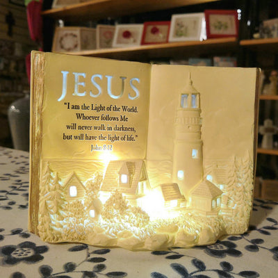 Lighthouse book with night lights-I am the light of the world. (John 8:12)