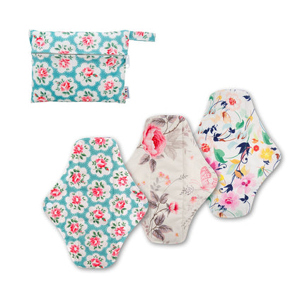 3 PCS Reusable Cloth Menstrual Pads with Mini-Wetbag- 3W01