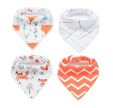 4 pcs. Bandana Bib - E2559 - Chirpy Cheeks Nappy Store - cloth nappies, wetbags, mama pads, breast pads, swim nappies