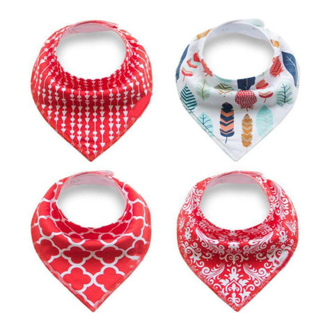 4 pcs. Bandana Bib - E2573 - Chirpy Cheeks Nappy Store - cloth nappies, wetbags, mama pads, breast pads, swim nappies