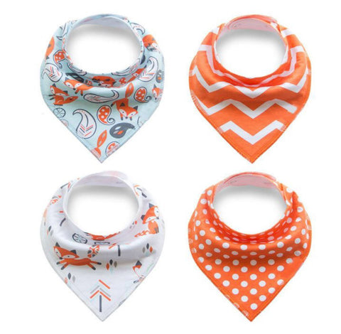 4 pcs. Bandana Bib - E2574 - Chirpy Cheeks Nappy Store - cloth nappies, wetbags, mama pads, breast pads, swim nappies