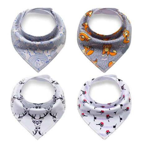 4 pcs. Bandana Bib - E2588 - Chirpy Cheeks Nappy Store - cloth nappies, wetbags, mama pads, breast pads, swim nappies