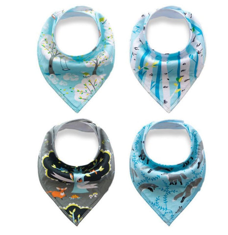 4 pcs. Bandana Bib - E2590 - Chirpy Cheeks Nappy Store - cloth nappies, wetbags, mama pads, breast pads, swim nappies