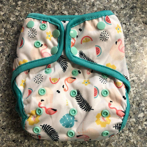OSFM Nappy Cover - Flamingo2 - Chirpy Cheeks Nappy Store - cloth nappies, wetbags, mama pads, breast pads, swim nappies