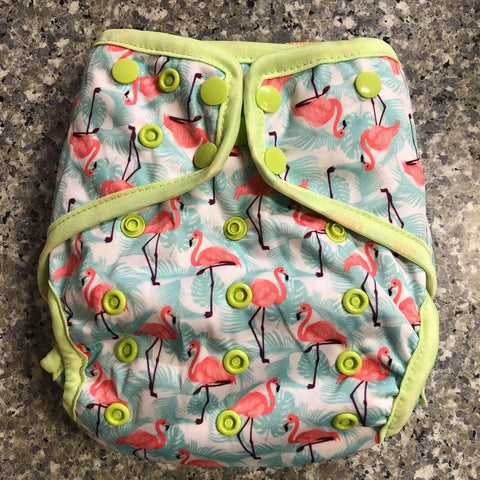 OSFM Nappy Cover - Flamingo3 - Chirpy Cheeks Nappy Store - cloth nappies, wetbags, mama pads, breast pads, swim nappies