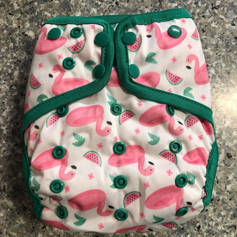 OSFM Nappy Cover - Flamingo - Chirpy Cheeks Nappy Store - cloth nappies, wetbags, mama pads, breast pads, swim nappies