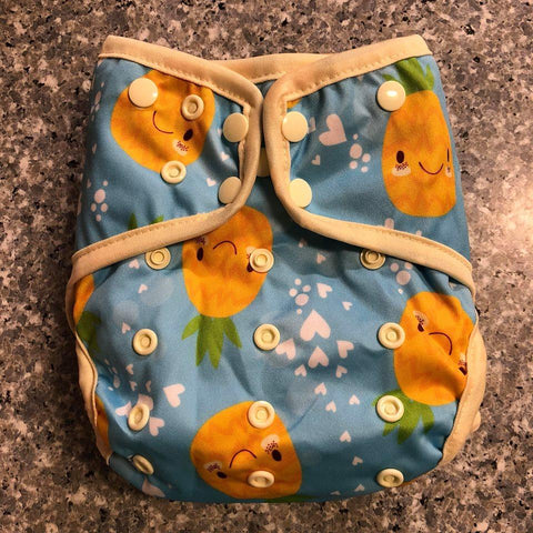 OSFM Nappy Cover - Pineapple - Chirpy Cheeks Nappy Store - cloth nappies, wetbags, mama pads, breast pads, swim nappies