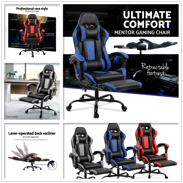 Brilliant Gaming Office Chair Computer Home Seating Racer Pu Leather Executive Footrest Caraccident5 Cool Chair Designs And Ideas Caraccident5Info