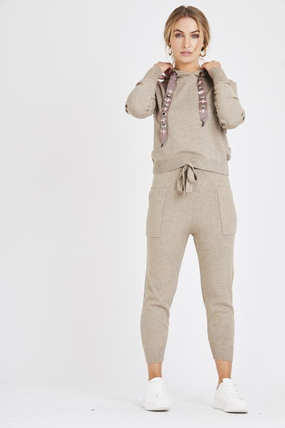 Jewel Embellished Soft Knit Tracksuit - Mocha