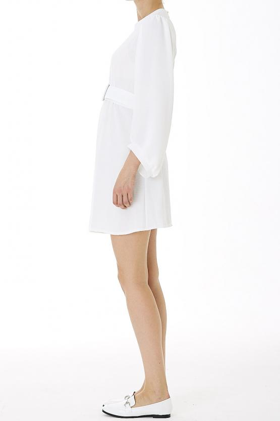 Belted Mini Dress- White