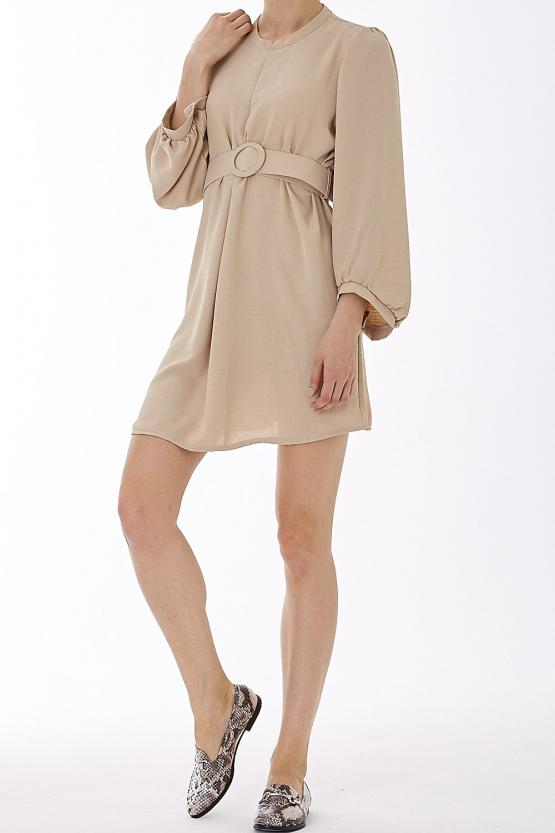 Belted Mini Dress- Beige