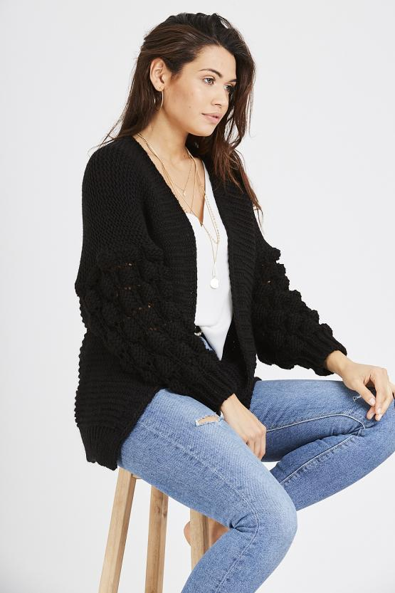 Cable Knit Cardigan - Black