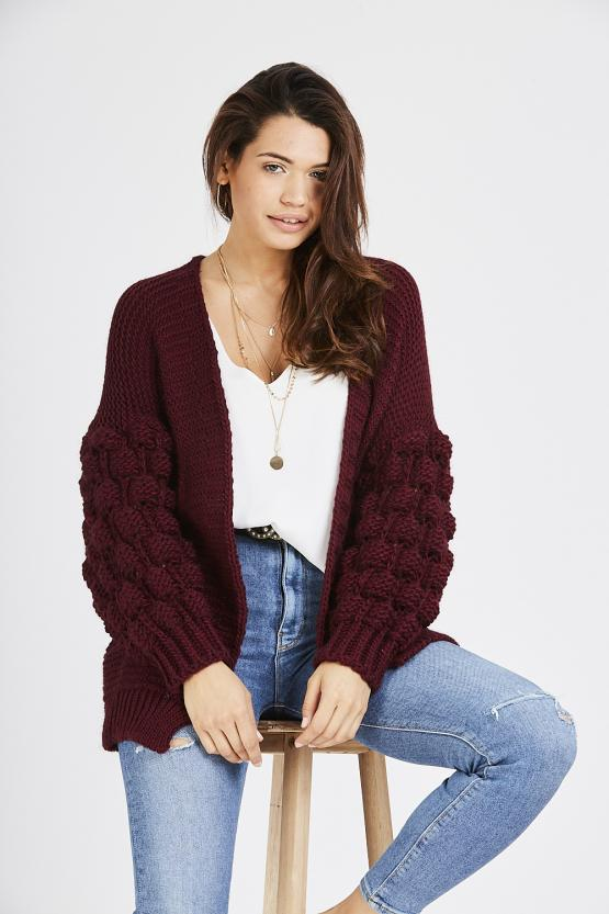 Cable Knit Cardigan - Wine