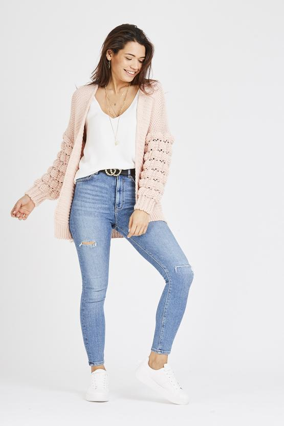 Cable Knit Cardigan - Pink