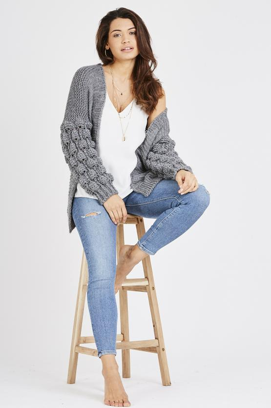 Cable Knit Cardigan - Dark Grey