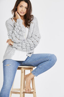Cable Knit Cardigan - Light Grey
